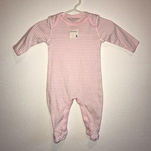 New Burt's Bees Baby pink stripe footie newborn